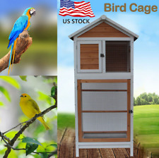 Bird Cage Wooden Playhouse Cockatiel Parakeet Canary Finch Conure Pet Supply