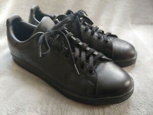 Adidas Stan Smith Triple Black Tennis Shoes Sneakers Size 10.5 Preowned