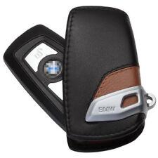 BMW Remote Key Leather Case Cover Bag Holder Car Logo Keyring Chain Black&Brown
