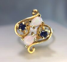Estate 14k Yellow Gold Pear Shape Opal Round Blue Sapphire Cocktail Ring