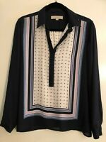 ANN TAYLOR LOFT Beautiful Soft Women S Soft Blouse Shirt Black White Graphic