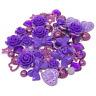 80 Mix Purple Shabby Chic Resin Flatbacks Craft Cardmaking Embellishments