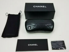 Authentic Chanel black large leather sunglasses hard case pouch cleaning cloth L