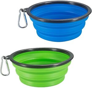 2-Pack Same Size Collapsible Dog Bowl, Food Grade Silicone BPA Free Green Blue