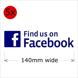 Find Us On Facebook Stickers, 140 mm wide