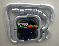"2.5"" 63mm aluminum universal Intercooler Turbo Piping pipe & Black silicone hose"