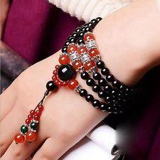 6mm Stone Buddhist Black Orsidian 108 Prayer Beads Mala Bracelet Necklace + Pouc
