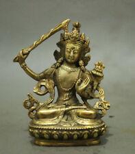 Folk Chinese Tibet Brass Buddhism Manjushri Buddha Kwan-yin Bodhisattva Statue