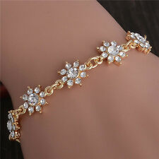 New Design Fashion Women 18K Gold Plated Shiny Austrian Crystal Cuff Bracelet