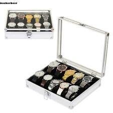 12 Slot Jewelry Watch Storage Box Collection Case Display Organizer Metal LL