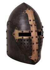 Sugarloaf Helmet With Hinged Visor 1.6 Mm Steel Antiqued - Late Medieval