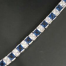 23 Ct Blue Sapphire CZ Tennis Bracelet Women Jewelry Gift 18K White Gold Plated