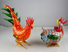 Pair of Lenox Glass Birds - Rooster, Hen - Orange, Blue, Green