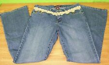 Jeans D Size 9 Denim Stretch Blue Jeans Flare Lace Waist w Coins Embellished