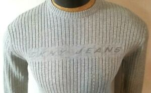 Men's DKNY JeansGray Ribbed Cotton Crew Neck Pullover Sweater Sz Large VTG New