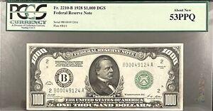 1928 $1,000 FRN New York DGS Fr2210-B PCGS 53 PPQ Woods /Mellon Exceptional!!