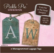 Pickle Pie Monogrammed Cork Luggage Tags Embroidery CD 4x4 5x7