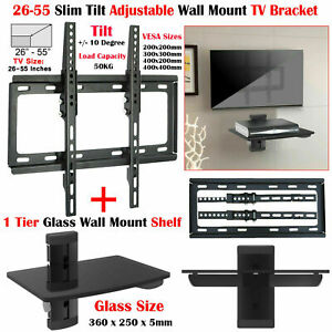 "26"" - 55"" Tilt TV Wall Bracket Mount with Single Glass Shelf DVD Player Sky Xbox"