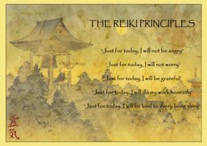 The Reiki Principles A4 Laminated Mini Poster - Reiki, Chakra, New Age