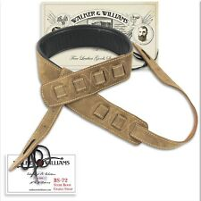 "Walker & Williams BS-72 3.5"" Brown Suede Cradle Banjo Strap with Thick Padding"