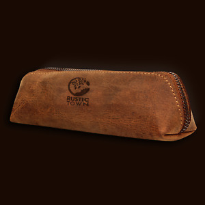 Leather Pencil Case - Zippered Pen Pouch. Buffalo Leather, Eco-Friendly, Durable
