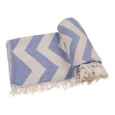 Sand-Free Turkish Beach Towel Fouta Bath Towel 100% Cotton 35x70 Blue-Gray&White