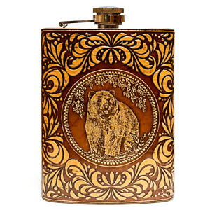 BIRCH BARK Steel Flask Bear, Hip Liquor, Whiskey, #3, 8oz