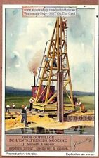 Steam Posered Piling Driver Heavy Equipment Sonnette A Vapeur 1930s Trade Card