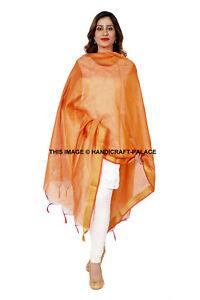 Indian Art Silk Woven Zari Chnderi Long Stole Banarasi Dupatta Shawl Orange