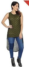 Indigo Tread Co. Woman Mitered Knit Sleeveless Hi-Li Top Color: Olive, Size: XL