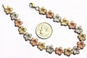 Floral Link Gold Bracelet ~ 10k Multi-Color Solid Gold ~ 7.5 inch