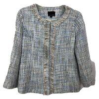 Cynthia Rowley Jacket Cardigan Fringe Plaid Multicolor Tweed Blazer -WomenSize L