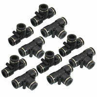10 Pcs Pneumatic 12mm to 12mm Push In Connector Tee Shaped Quick Fittings