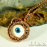Antiqued Copper Wire Wrapped Pendant Artisan Jewelry Evil Eye Amulet
