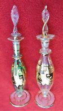 "PAIR EGYPTIAN PERFUME BOTTLES ~ HAND MADE BLOWN GLASS~ 24K GOLD TRIM~ 6 1/2"""
