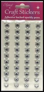 SELF ADHESIVE DIAMANTE STICK ON SPARKLY  CRYSTAL 8MM DIAMONDS AND 4MM PEARLS