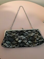 ATMOSPHERE BLACK AND GOLD LACE CLUTCH BAG