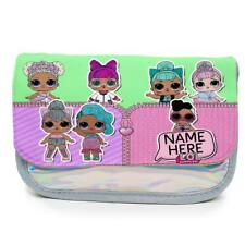 Personalised Pencil Case LOL Dolls Holographic Shiny Silver School Girls KS118