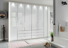 GERMAN KANSAS 6 DOOR WARDROBE FITTED FREE BEDROOM WHITE SILVER GRAPHITE GLASS