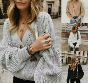 Brand New Oversized Chunky Knitted Bubble Sleeve Cardigan 4 Colours Available