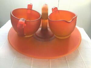 Vintage Glass Tidbit Serving Tray w/Handle & Creamer Sugar 3 Pc Set Satin Orange
