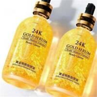 24K Gold Facial Skin Care Anti wrinkle Anti-Aging Face Essence Serum Cream US..