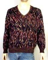 vtg 90s euc St. Croix Knits V-Neck Colorful Cosby Sweater Hip Hop Biggie Coogi L