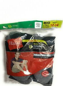 Hanes Men's Cushion Ankle Socks ( Size 12-14, 6-Pack)