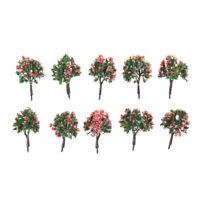 10pcs arbres échelle modèle modèle arbre avec fleur rose pour le paysage ferrIHS