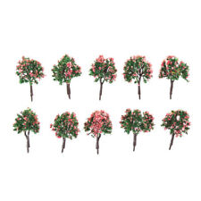 10PCS HO Scale Model Trees Model Tree with Pink Flower for Railroad Scenery TB