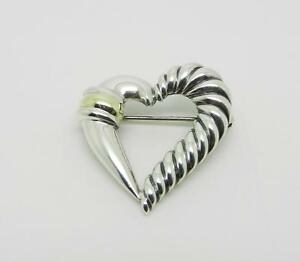 DAVID YURMAN STERLING SILVER 14K YELLOW GOLD CABLE HEART PIN BROOCH - LB-C1242