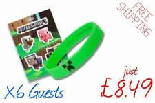 Minecraft Birthday Party Bag Fillers | 6 Guests - (6 Stickers & 6 Wristbands)