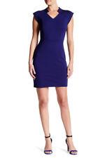 $375 HALSTON HERITAGE Cap Sleeve V-Neck Structured Sheath Dress Astral Blue 6 *