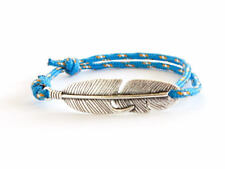 Mens Yoga Bracelet Adjustable Turquoise Blue Rope Feather Charm Jewelry Cuff